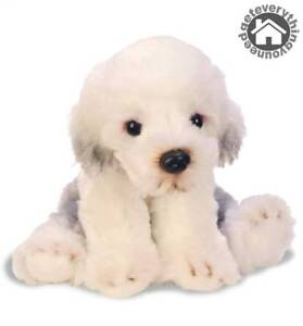 Small Dog Puppy Soft Caress Plush Toy White Cute Sheepdog Realistic Features