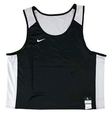 New Nike Men's Large Stock Elite Reversible Lacrosse Tank Black White 846361