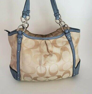 Coach Signature Tan Tote Handbag Bag w/Blue Trim Signature Tan Tote Handbag