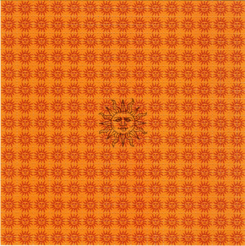 ORANGE SUNSHINE BLOTTER ART perforated sheet paper psychedelic art