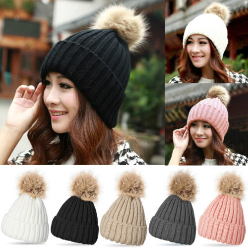 Unisex Womens Warm Wool Knitted Wool Fur Pom Beanie Bobble Ski Hat Slouch Cap