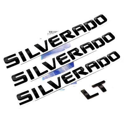 3x OEM Black SILVERADO Plus LT Emblems Badges 1500 2500HD L Chevrolet Glossy