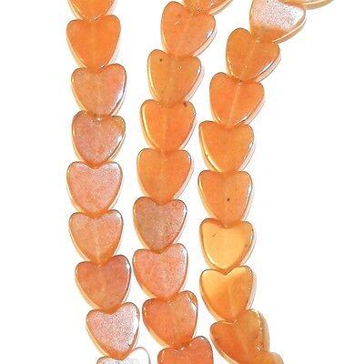"NG2668 Red Aventurine 6mm Flat Heart Natural Gemstone Beads 16"""