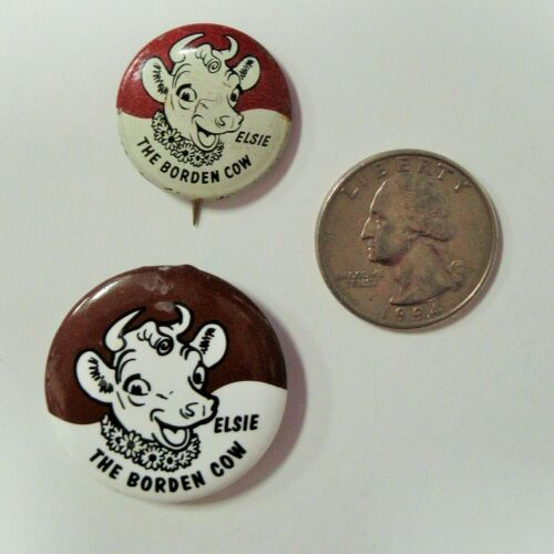 2 Elsie The Borden Cow Pinbacks Borden Dairy Company  B