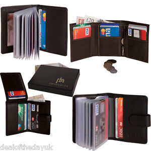 Mens-Genuine-Real-Leather-Small-Credit-Card-Wallet-Black-Brown-Holder-Business