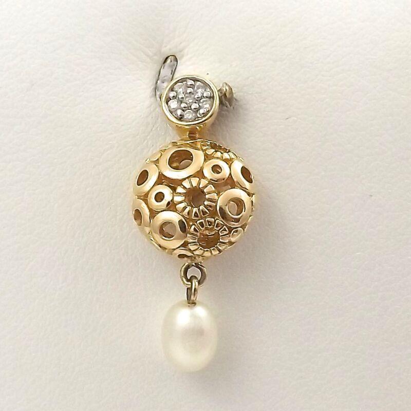 14K Yellow Gold Diamond Cordova Filigree Pearl Dangle Charm Pendant 3.2 gr