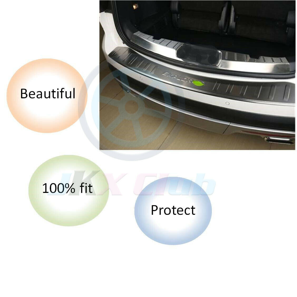 Steel Outer  Inner Rear Bumper Protector Plate Cover for Ford Explorer 2011-2018