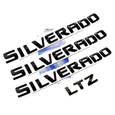 3x OEM Black SILVERADO Plus LTZ Emblems Badges 1500 2500HD Y4 Chevrolet Glossy