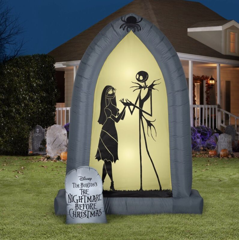 Nightmare Before Christmas Jack & Sally 7FT Arch LED Airblown Inflatable FREESHI