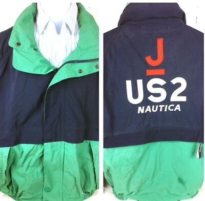 Nautical JS2  Boating Yacht Green/Blue zip/Snap Jacket reversible zip back XL ()