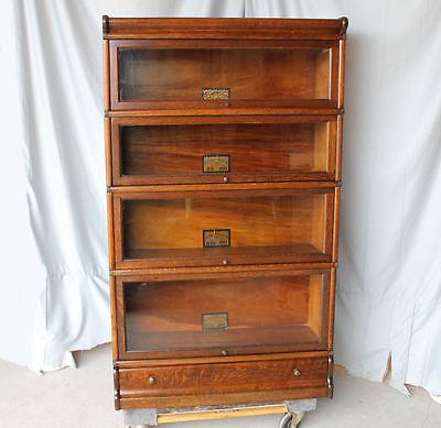 Antique Globe Wernicke 4 High Sectional Oak Barrister Bookcase