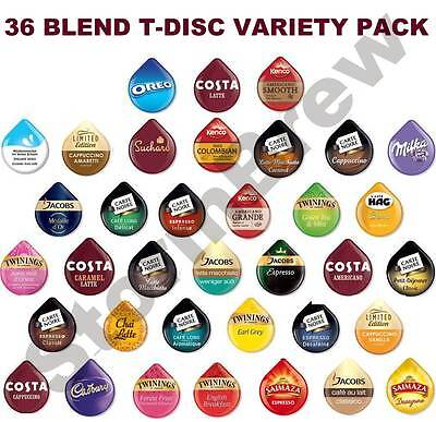 44 TASSIMO T DISCS VARIETY TASTER, STARTER PACK: COFFEE CHOCOLATE PODS: 36 BLEND