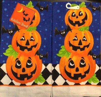 Set Of 2 Halloween Triple Pumpkin Bat Fall Holiday Kitchen Hand Tea Towels](Halloween Tea Towels)