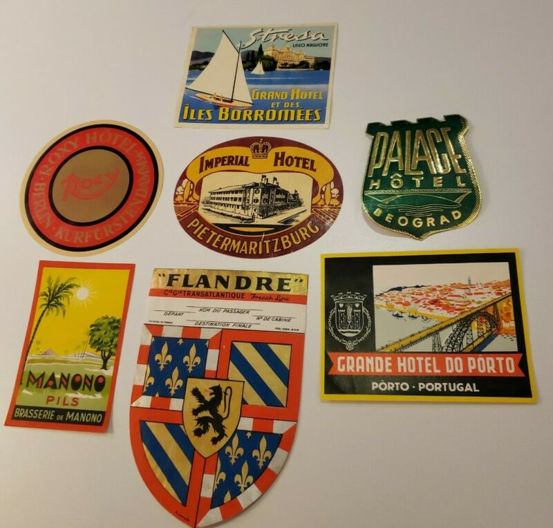 Original Old Hotel & Travel Luggage Labels LOT OF SEVEN (B)