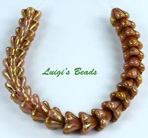 L-Opaque-Rose-Gold-Topaz-Czech-Beads-Bell-Flower-8-6mm