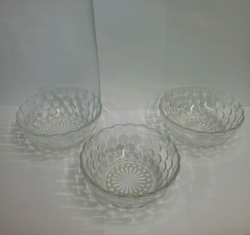 """Lot of 3 Vintage Anchor Hocking Clear Bubble 4"""" Fruit Bowls"""