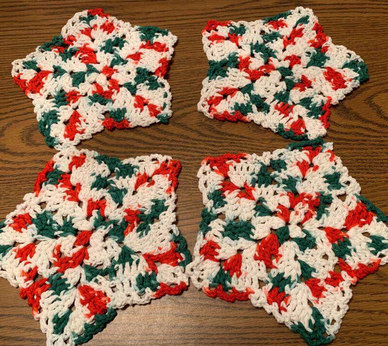 "Set Of 4 100% Cotton 9"" Christmas Thick Hand Crocheted Snowflake Dish Wash Cloth"
