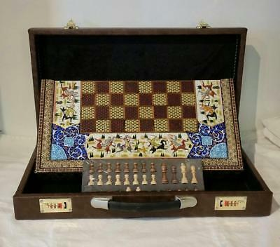 Radin Rugs, Persian Khatam & Miniature Chess & Backgammon Board in Box,BRAND NEW