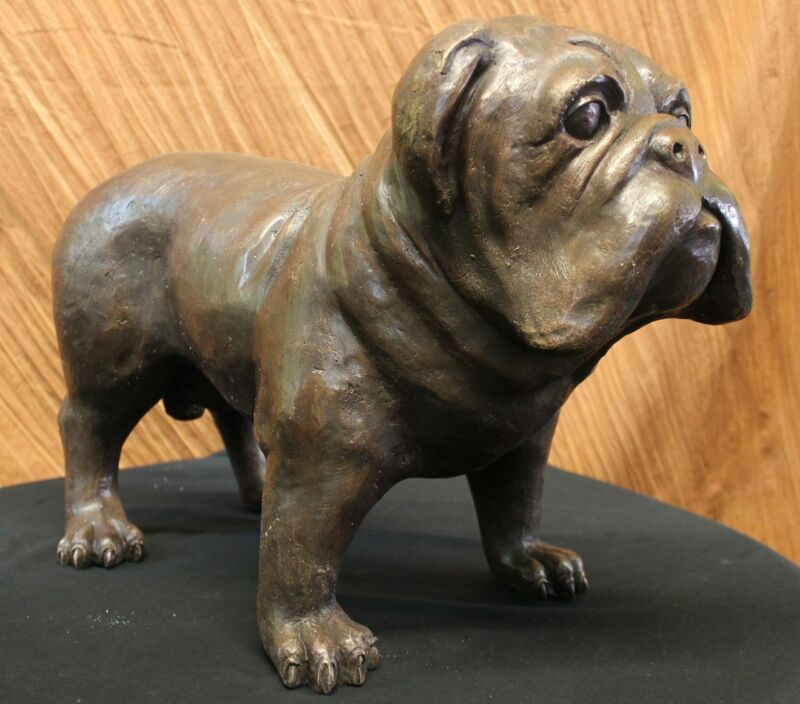 Vintage Style Hand Cast BRONZE MALE ENGLISH BULLDOG Heavy Handcrafted Statue Art