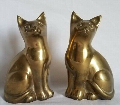 """2 Vintage Antique Solid Brass Cats Approx 7"""" H X 4.25"""" W X 3"""" Thick +2 pounds ea"""
