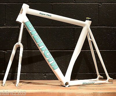 New 2016 Bianchi Super Pista 55 CM Frameset White Track Bicycle Frame Fork