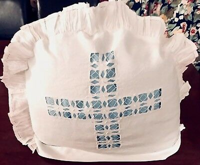 Vintage Hand Embroidered Drawn Threadwork White Linen Frilled Tea Cosy Cover