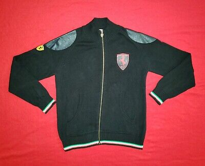 Puma Ferrari Men's Large Full Zip Sweater Jacket Black with Logo on Chest & Arm