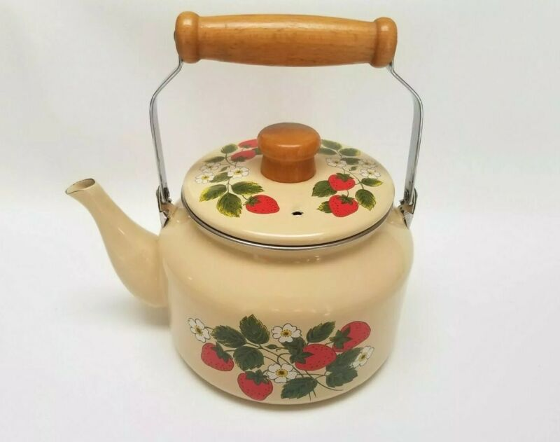 Vintage 1981 Fraise Strawberry Flower Teapot Tea Kettle Gailstyn-Sutton Japan