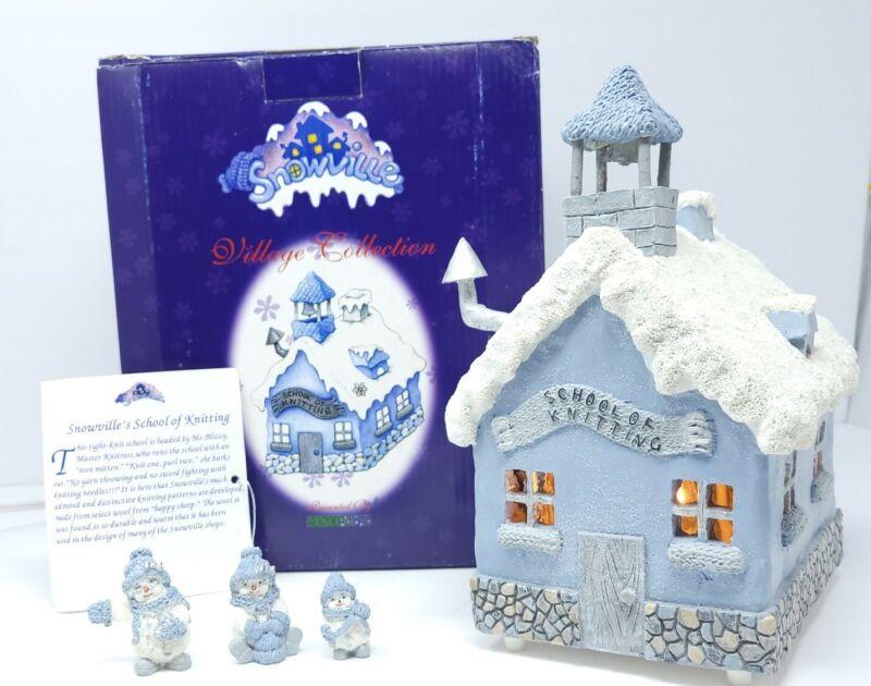 Snowville Village Collection School of Knitting3 Figures Light 1999 Encore VTG