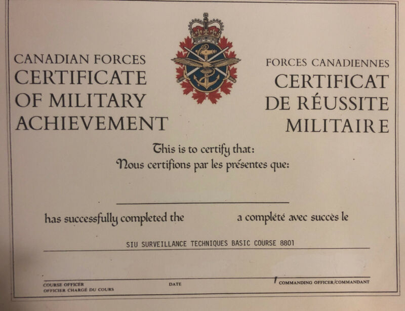 Canadian Forces Certificate Of Military Achievement- Comes Blank- Fill In Info