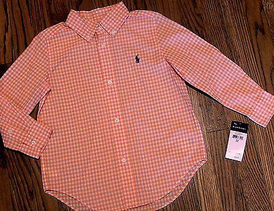 POLO RALPH LAUREN AUTHENTIC BOYS BRAND NEW ORANGE DRESS SHIRT Sz S (8), NWT