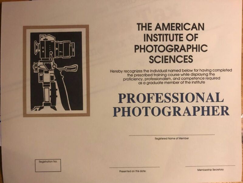 Professional Photographer Certificate- College- Diploma. Comes Blank- Fill Info