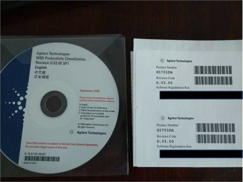Agilent Chemstation MSD Productivity D.03.00 SP1 CD + Registration Key