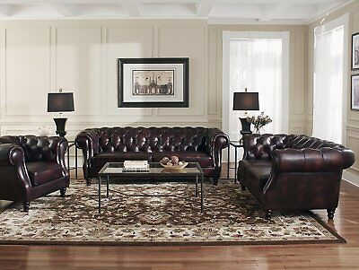Leder Sitzgarnitur Sofa (Sofagarnitur Chesterfield Leder Sitz 3+2+1 Polster Couch Set Garnitur Neu 201833)