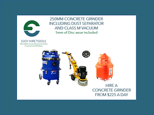 250mm Concrete Grinder, Dust Separator and Vacuum - $225/Day