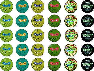 TMNT Teenage Mutant Ninja Turtle Edible Rice Paper Cupcake Birthday Cake Toppers](Edible Ninja Turtle Cupcake Toppers)