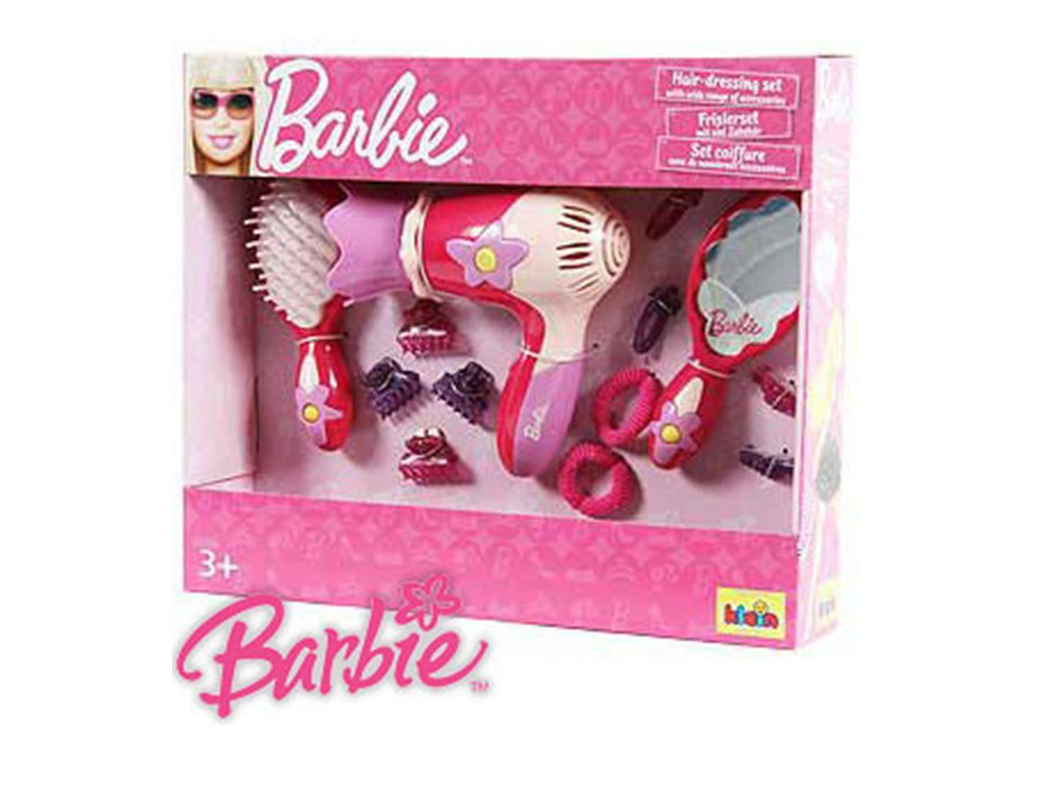 Toy Barbie Hairdressing Set Hair Dryer Brush Mirror Accessories Pink Fun S