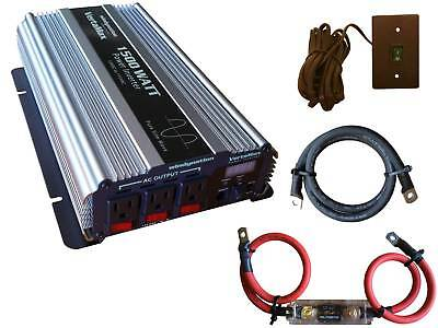 VertaMax 1500 Watt Pure Sine Wave Power Inverter + Cables + Fuse + ON/OFF (1500 Watt Pure Sine Wave Power Inverter)