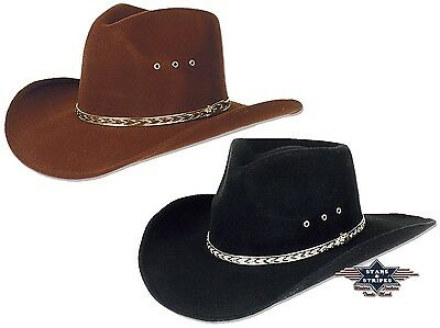 Hut Westernhut Cowboyhut Country KANSAS Schwarz Braun Mexikanischer Fauxfelt S&S (Cowboy Hut Schwarz)