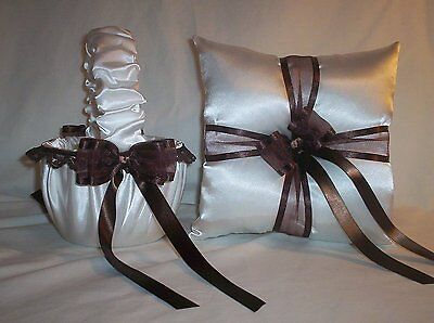 WHITE SATIN / BROWN LACE TRIM FLOWER GIRL BASKET & RING BEARER PILLOW #2