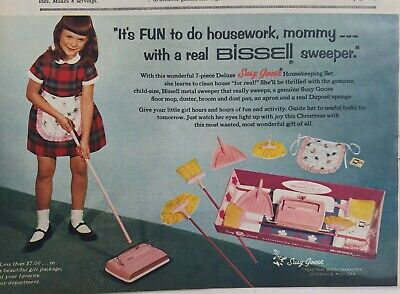 1965 little girl Susy Goose Bissell sweeper vacuum dustpan apron toy vintage ad