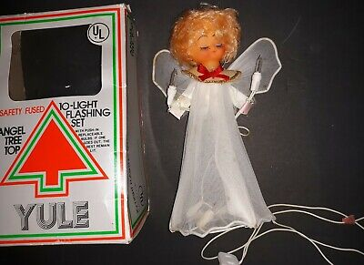 Vintage Early 1960's Tinsel Pixie Angel Light up Christmas Tree Topper