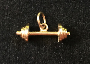 barbell 10 kt gold pendant for necklace