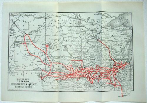 Chicago Burlington & Quincy Railroad - Original 1921 System Map. Vintage CBQ