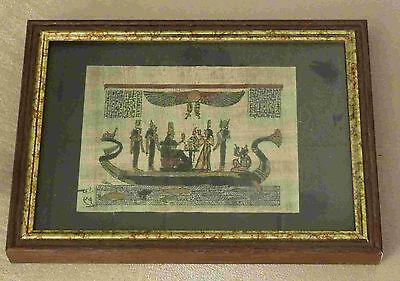 Handbemaltes Papyrus Bild 8 x 12 cm im Holzrahmen 12 x 18 cm