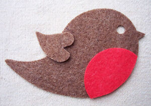 x4 FELT - ROBIN bird die cuts Christmas ornaments Bunting Decorations appliqués