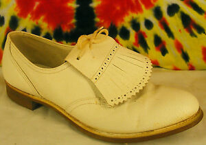 8-8-5-vintage-50s-60s-white-leather-LAZY-BONES-kilted-oxfords-shoes