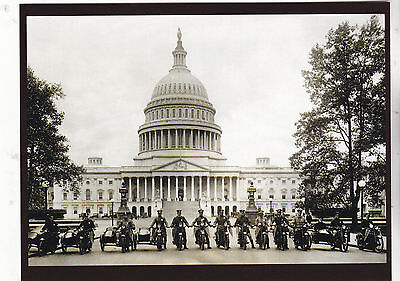 "*Postcard-""The Motorcycle Cops"" ...front of Capital Building- **Postcard"