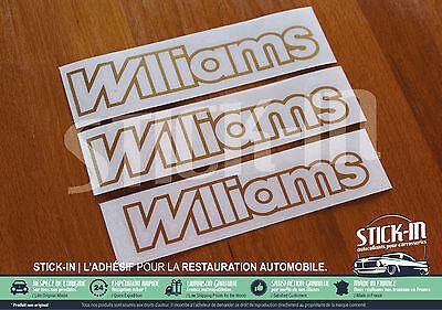 renault clio williams - set 3 autocollants stickers monogrammes 2 ailes 1 coffre