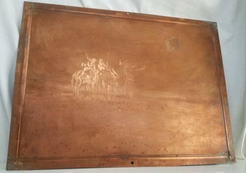 """CM RUSSELL Copper Printing Plate Western Indians 17""""x13"""" Original vintage"""